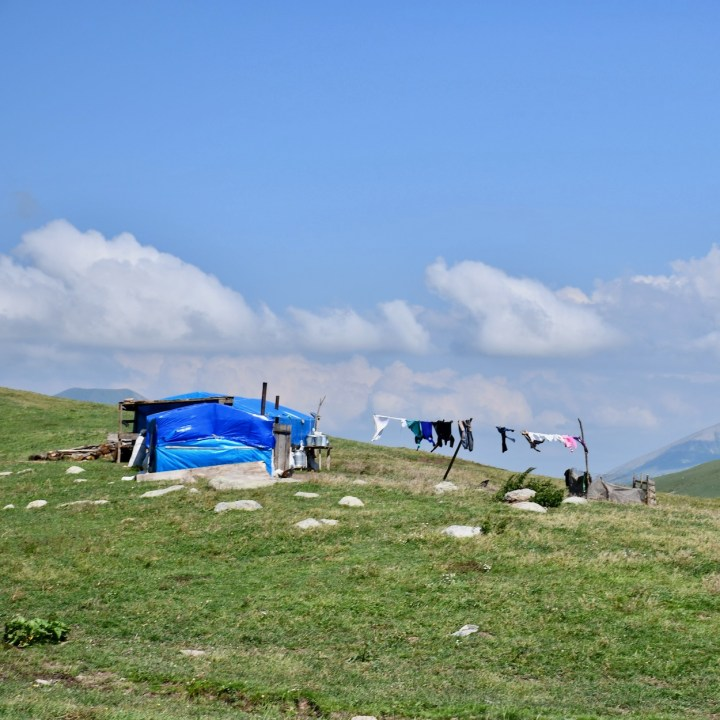 Lake Tabatskuri Georgia with kids nomadic tent
