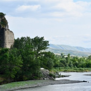 Atskuri castle Georgia with kids river view