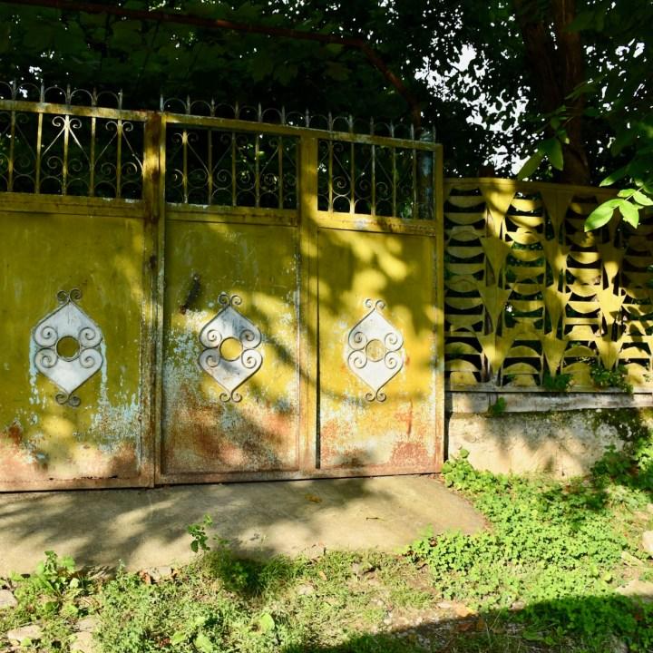 Atskuri castle Georgia with kids metal gate