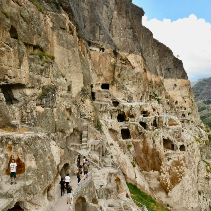 Vardzia Georgia with kids cave entrances