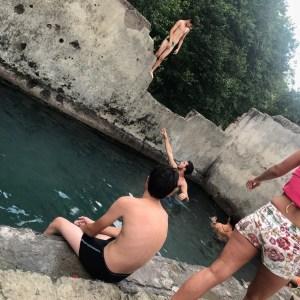 Atskuri castle Georgia with kids hot spring