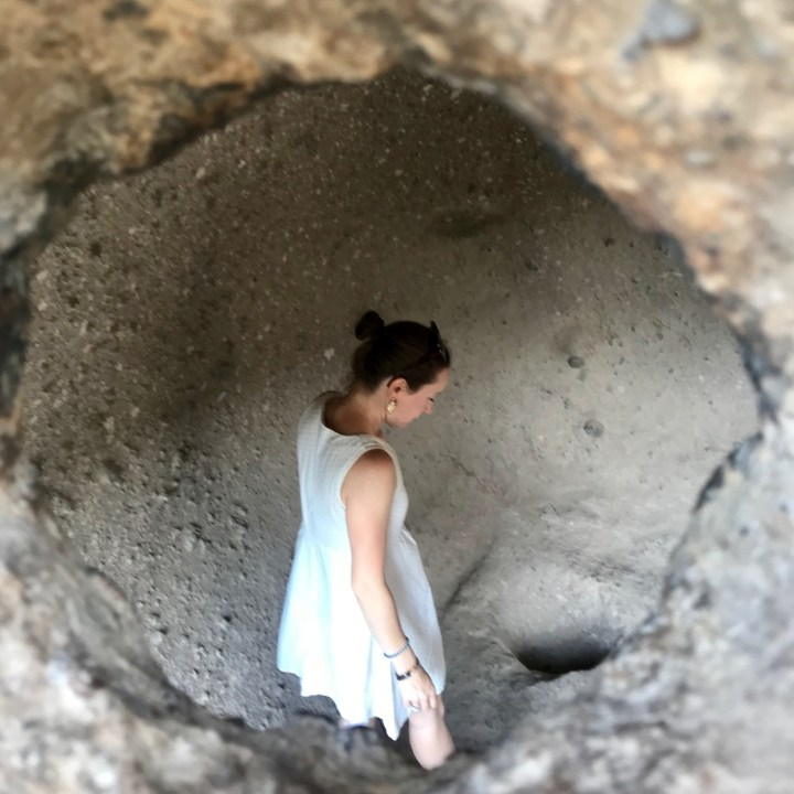 Vardzia Georgia with kids cave explorer
