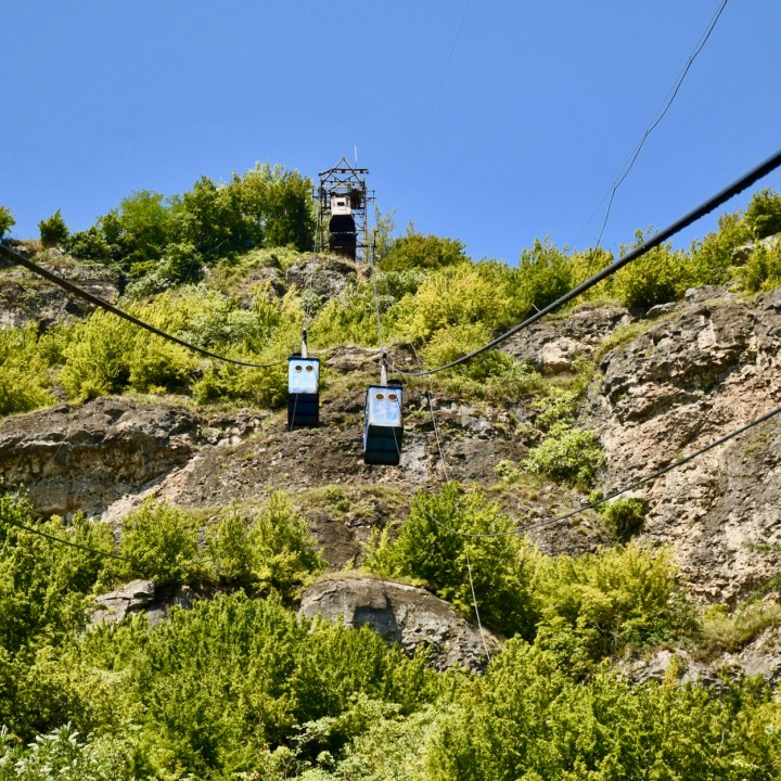 Chiatura Georgia with kids cable cars