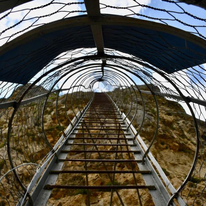 Katskhi Pillar Georgia ladder view