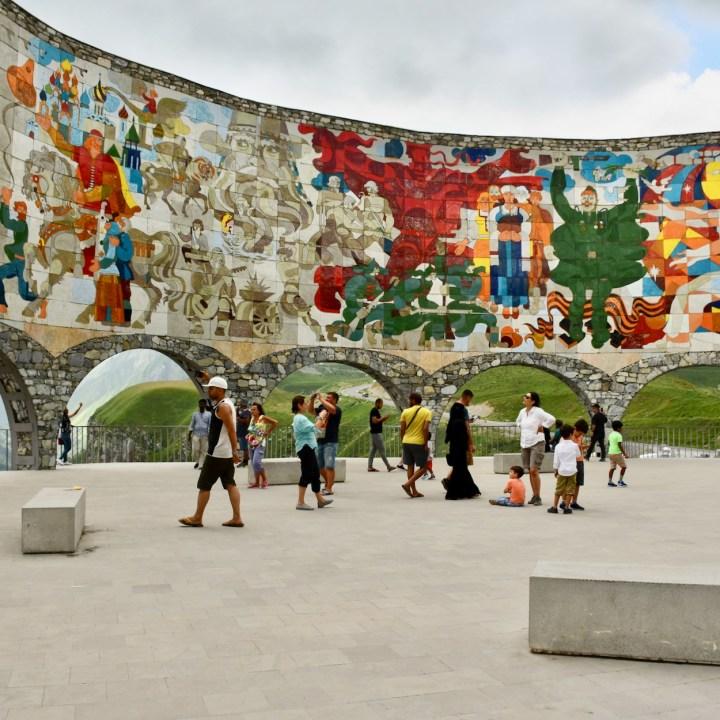 Gudauri with kids russian georgian friendship monument