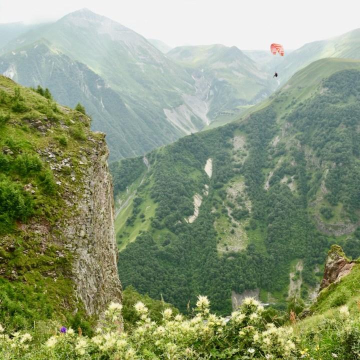 Gudauri with kids paraglider