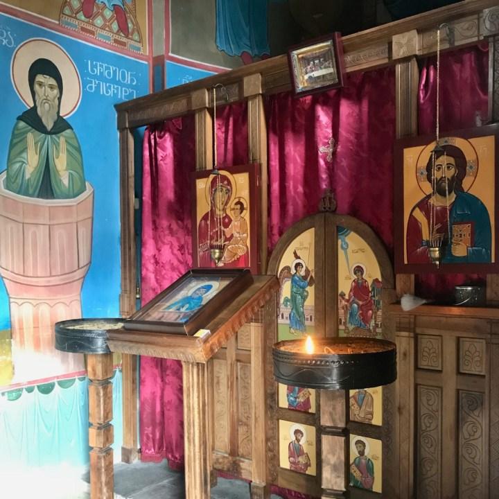 Katskhi Pillar Georgia with kids altar