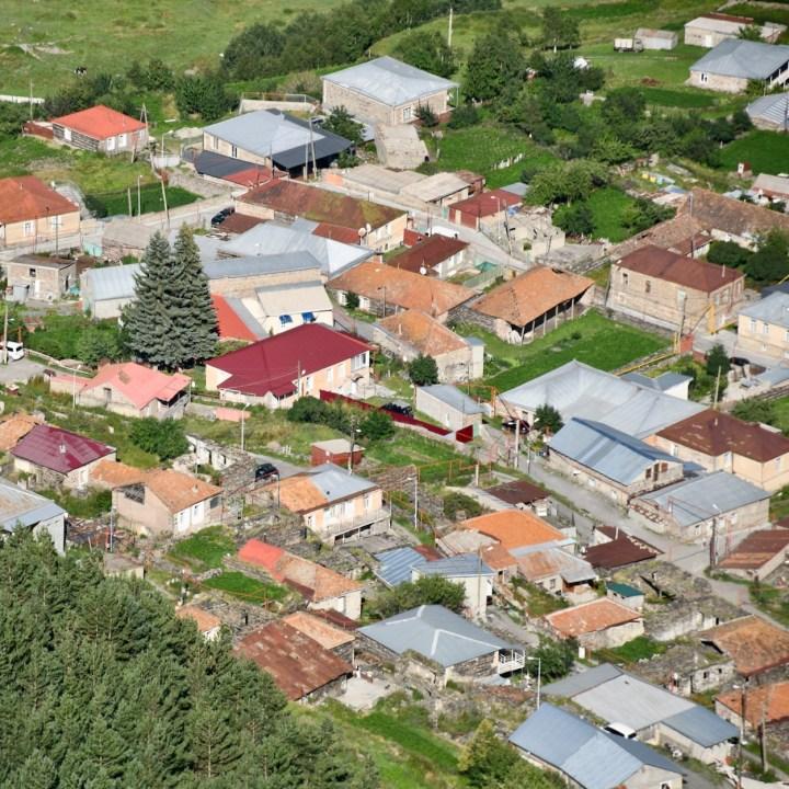 Gergeti village rooftops