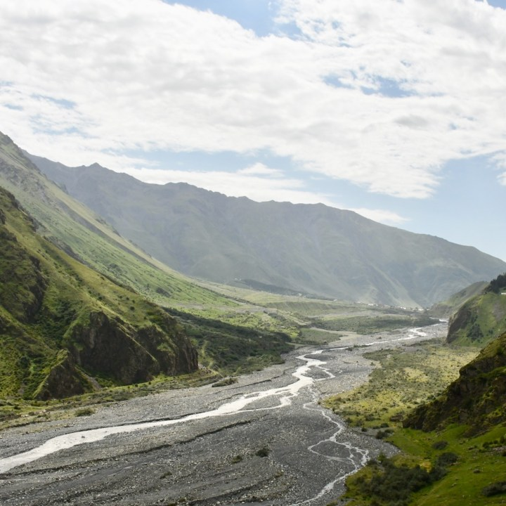 Gveleti waterfalls Kazbegi view