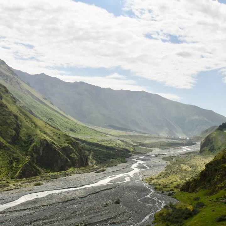 Gveleti waterfalls Kazbegi view