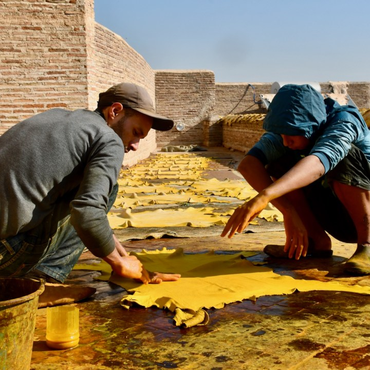 Fez Ain Azliten tannery yellow leather