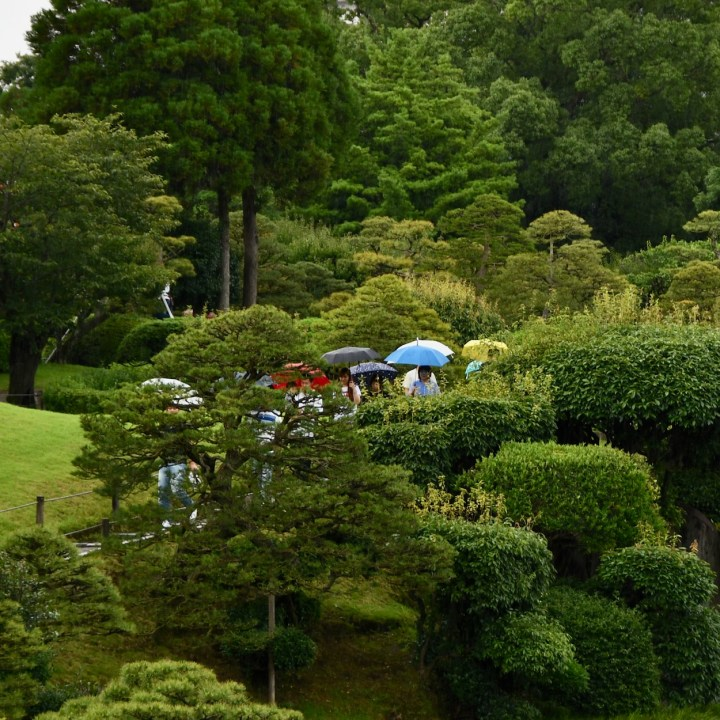 Suizenji Jojuen Garden in the rain