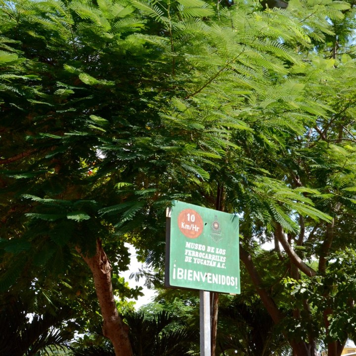 Merida Train Museum Signpost