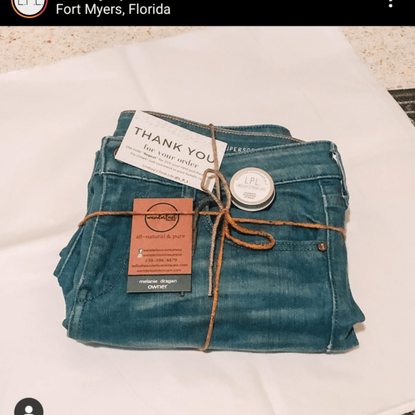 Instagram screenshot showing jeans, thank you card, and custom lip balm