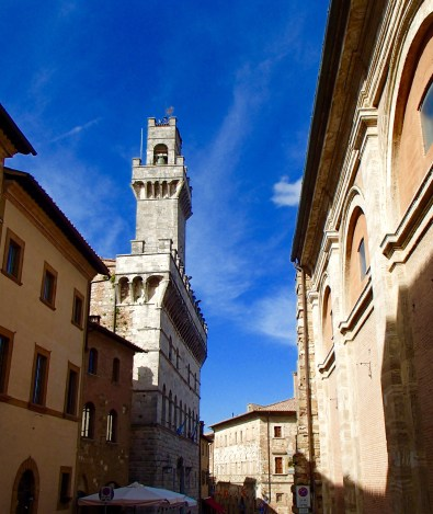 The Bell tower in Montepulciano main square