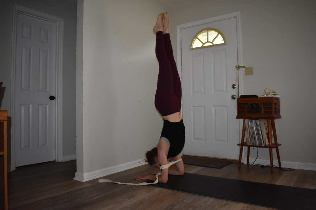 Forearm stand with yoga strap