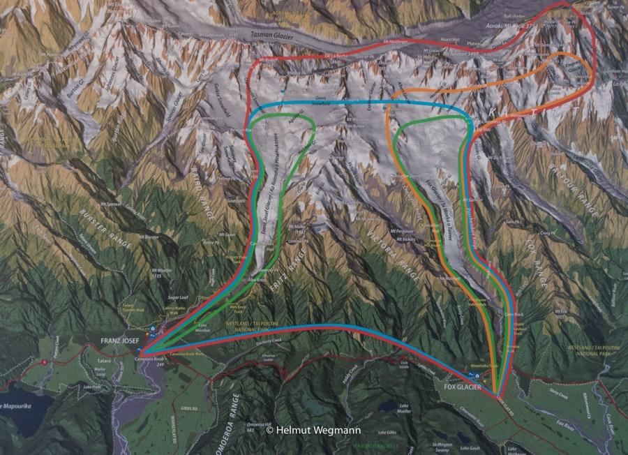 Helikopter Route in Blau