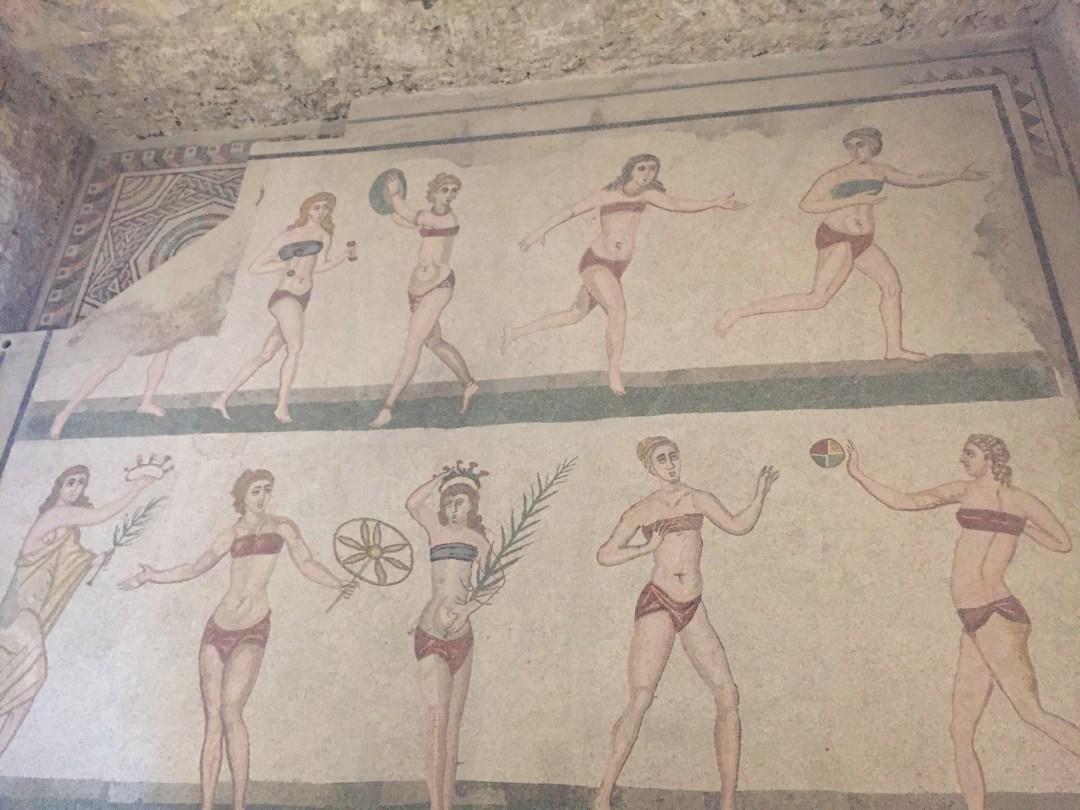 Olympian women mosaic Villa Romana del Casale Sicily, Italy