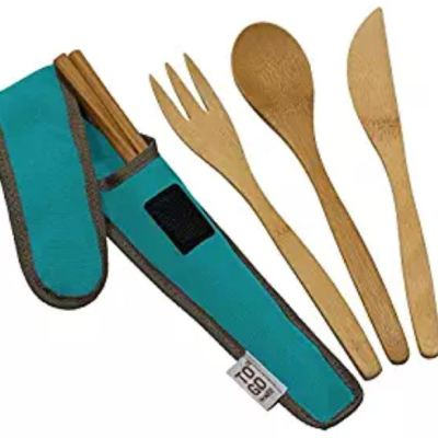 Bamboo Travel Utensils - To-Go Ware Utensil Set with Carrying Case (Agave)