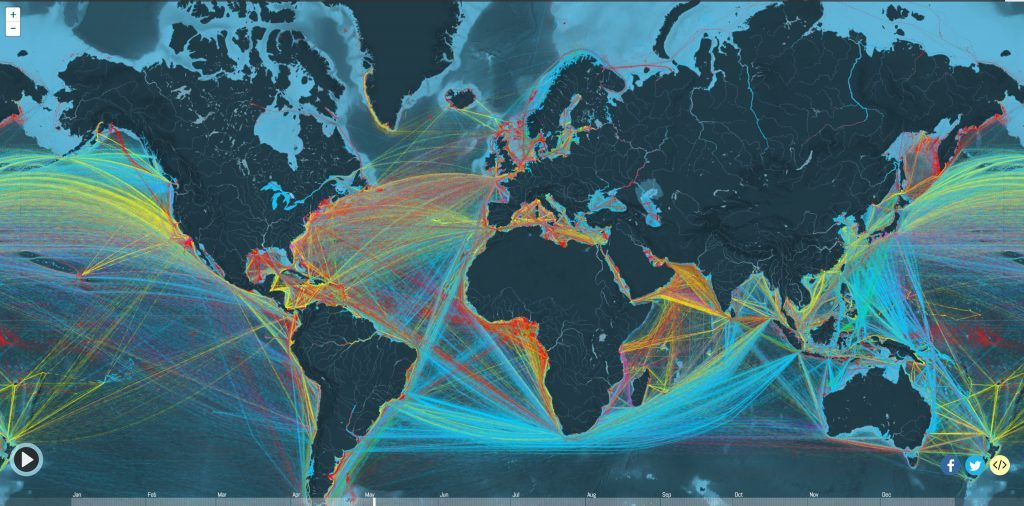 Map of Every Merchant Vessel in the World