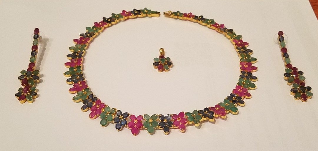Necklace and earrings from Monterey, Mexico