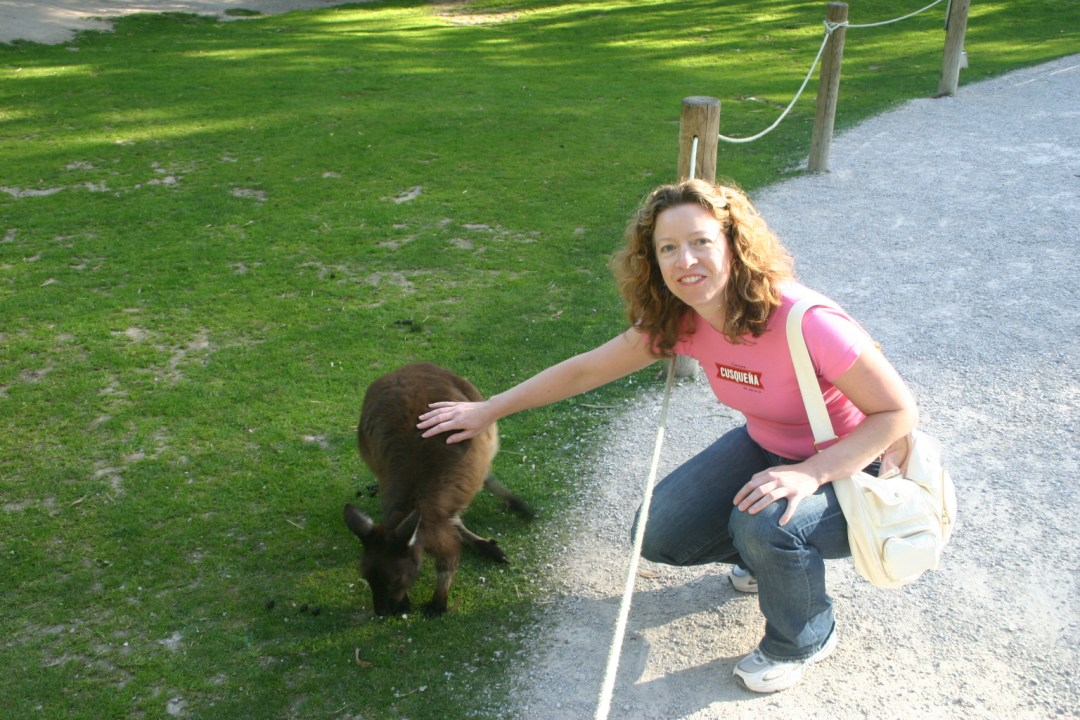 Heidi Wagner Morgan petting a kangaroo