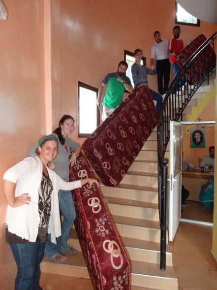 Getting the mattresses from the Dar Talib