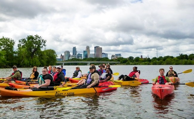 Urban Kayaking On The Mississippi River In Minneapolis