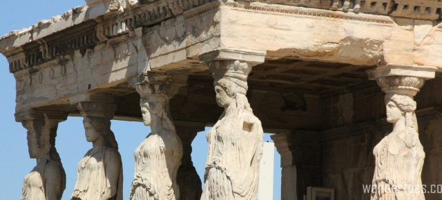 Caryatids at the Acropolis. Map of Plaka Athens Things to Do