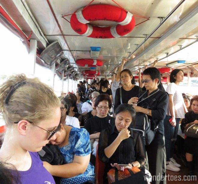Do you see the engine? Of course not, it's in the back with all the people crowded around it! Bangkok Chao Phraya Water Taxi