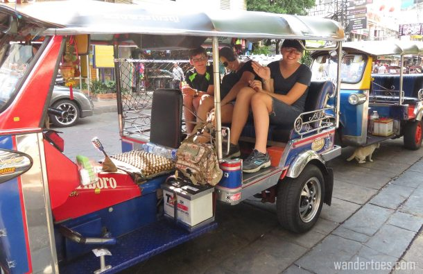 Tuk Tuk ride Khaosan road bangkok thailand travel