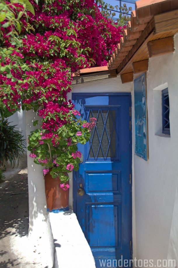 door athens anafiotika greece architecture flowers