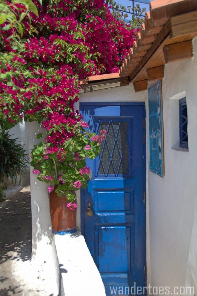 door athens anafiotika greece architecture flowers