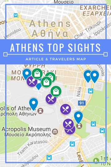 Athens Top Sights- Descriptive listing of top sights in Plaka, Athens, Greece. Expandable Google Map with sights marked, included.
