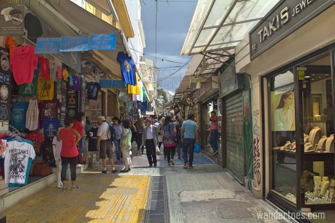 Pandrossou shopping street in Plaka, Athens.  Map of Plaka Athens Things to Do
