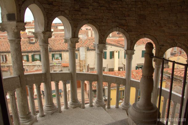 Scala Contarini del Bovolo view through the arches of the steps