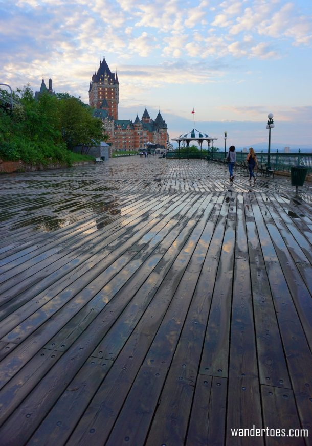 Terrasse Dufferin Chateau Frontenac Sunset rain solo female travel solo mom travel