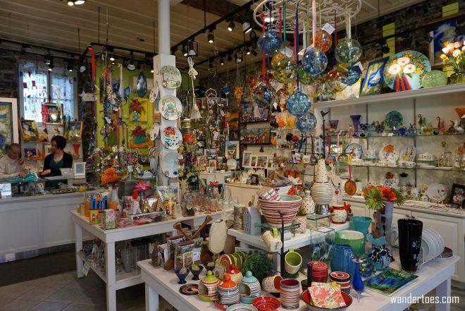 Fusion & Color shop interior.  Quebec City shopping artisan souvenirs.