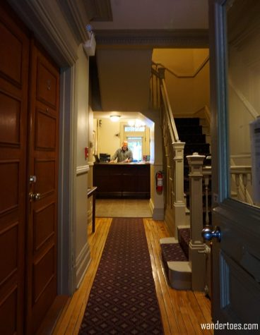 Entrance and front desk. Manoir de la Terrasse Quebec City Canada Review