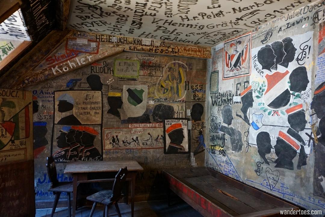 Interior of bedroom 'cell' in the Heidelberg Studentenkarzer. Student Prison