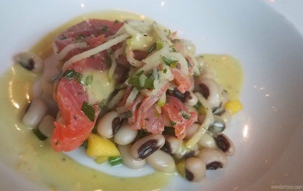 Salt-cured Salmon with lime and honey, served with white beans. Foodie stops, St. Roch, Quebec City.