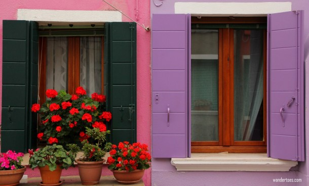 Doors and windows of Burano island Venice Italy