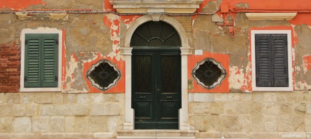 Doors and windows of Burano island Venice Italy