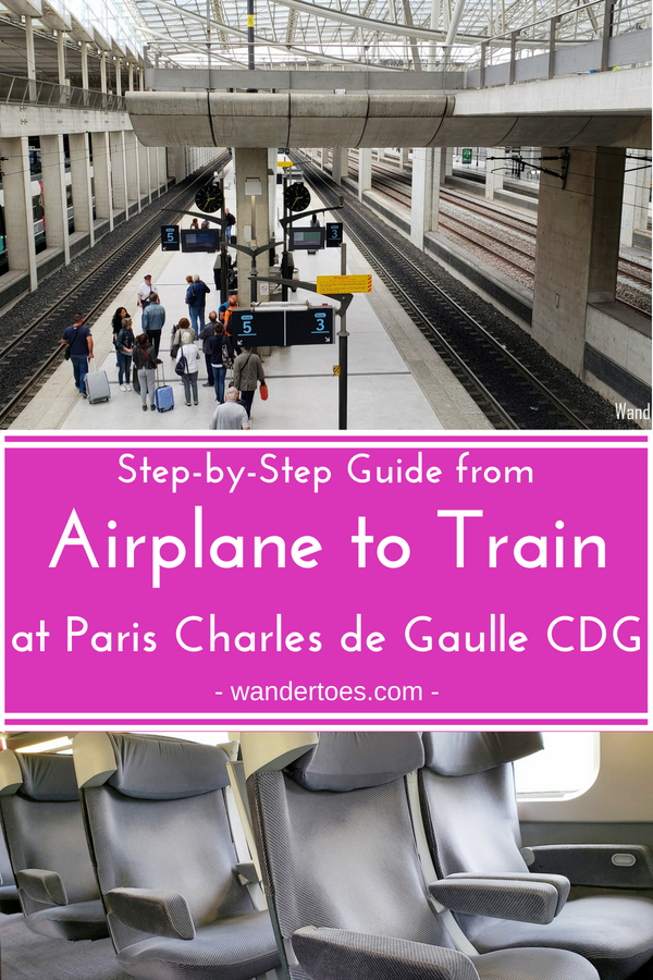 Paris, France, CDG Airport/Train Station: Want a step-by-step guide - with pictures - to get from your airplane to your train at Paris Charles de Gaulle? Here it is! #CDG #ParisAirport #ParisTrain #ParisCDG #Wandertoes