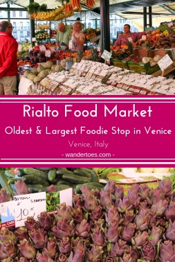 Venice, Italy:   The Rialto Market Venice is the most historic and extensive foodie stop in the beautiful city.  You will definitely want to visit, whether it is to grab a snack, dinner ingredients, or just a feast for your camera.  | Rialto Market Venice | Venice Rialto Market | Venice Food Market