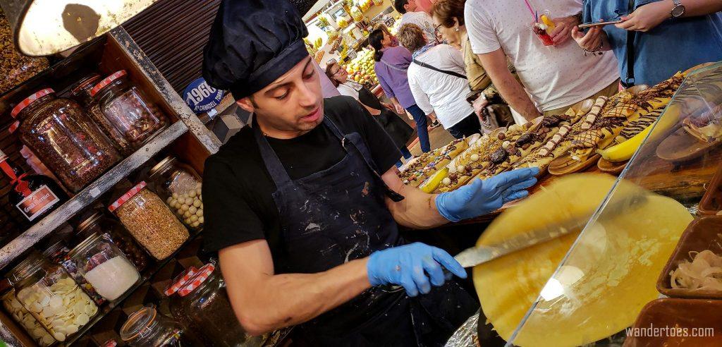 Barcelona Food Market Crepe Maker!