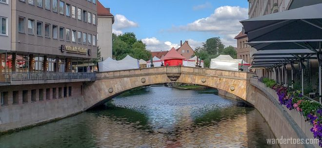 Old Town Nuremberg historic bridge | Fleischbrucke: Meat Bridge