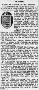 L'appel de la route - Edouard Estaunié - L'ouest éclair - 12/10/1922