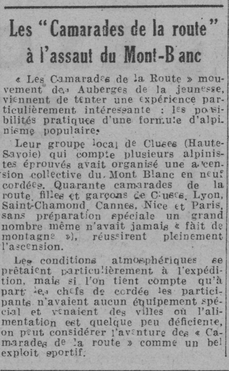 Le journal - 20.08.1943 - Les Camarades de la route à l'assaut du Mont-Blanc
