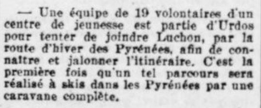 1942-02-27_La Croix_Une équipe de 19 volontaires... Urdos-Luchon